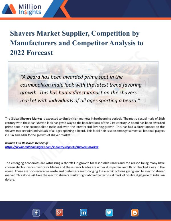 Market New Research Shavers Market Supplier, Competition by 2022