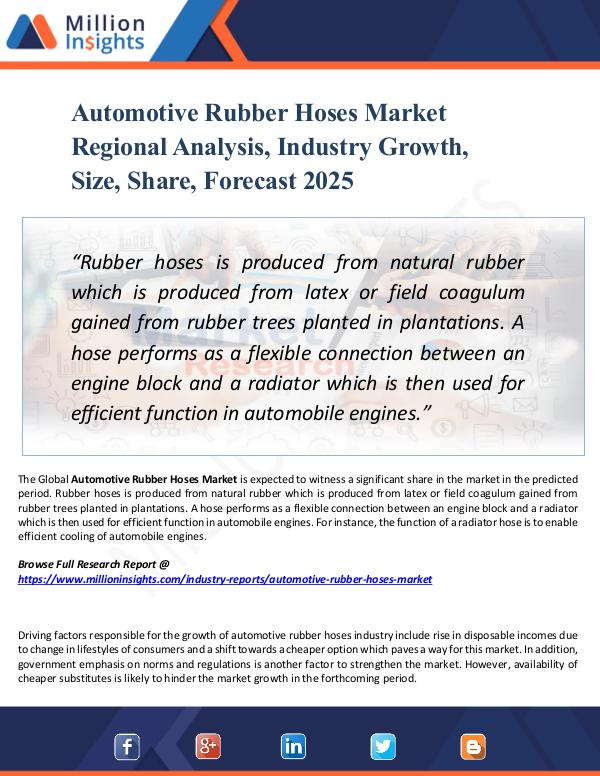Market New Research Automotive Rubber Hoses Market Regional Analysis,