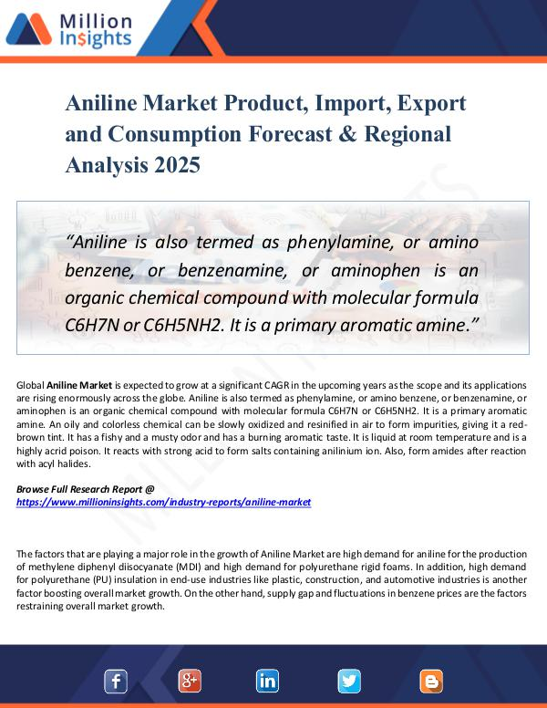 Market New Research Aniline Market Product, Import, Export 2025