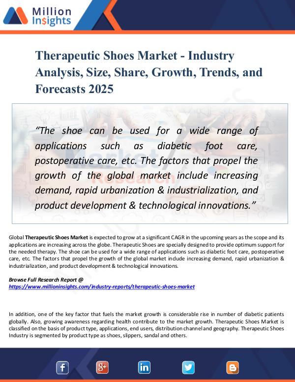 Market Research Analysis Therapeutic Shoes Market - Industry Analysis, Size
