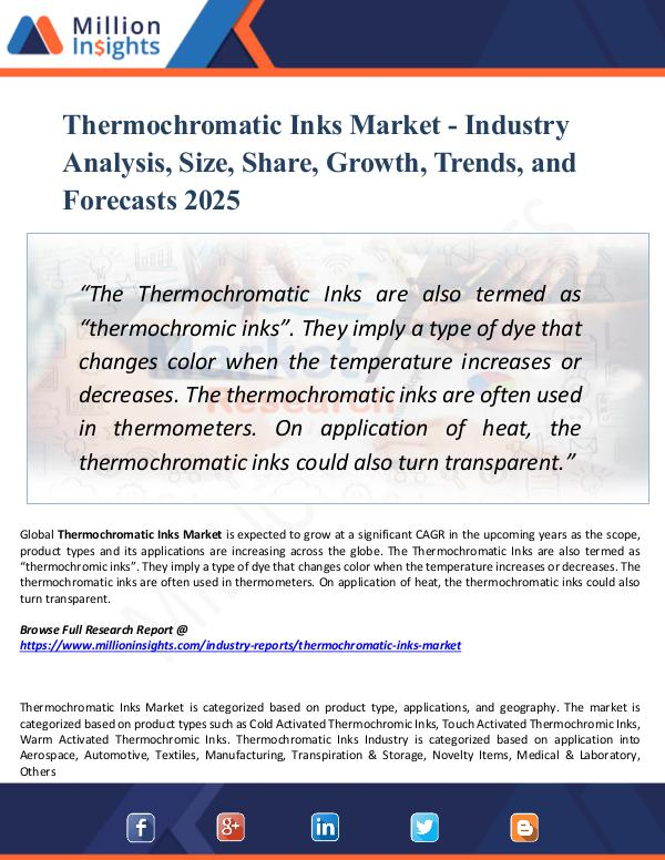 Market Research Analysis Thermochromatic Inks Market - Industry Analysis