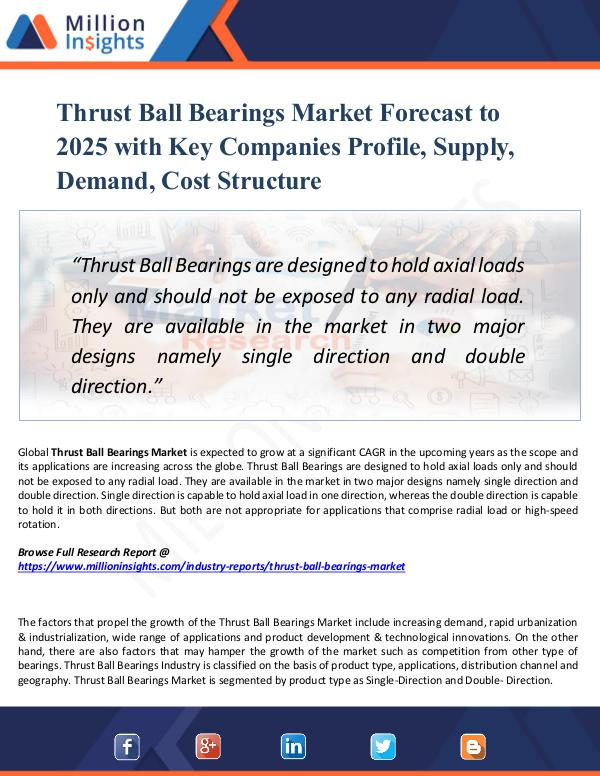 Market Research Analysis Thrust Ball Bearings Market Forecast to 2025
