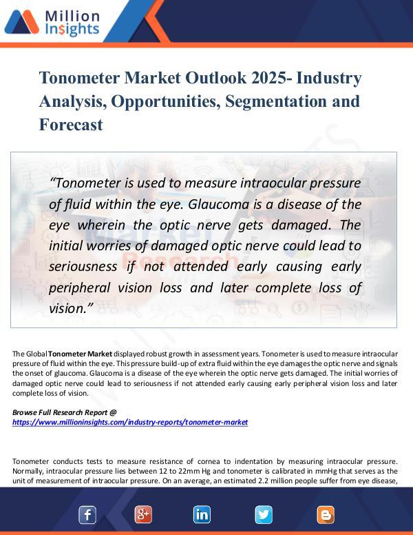 Market Research Analysis Tonometer Market Outlook 2025- Industry Analysis