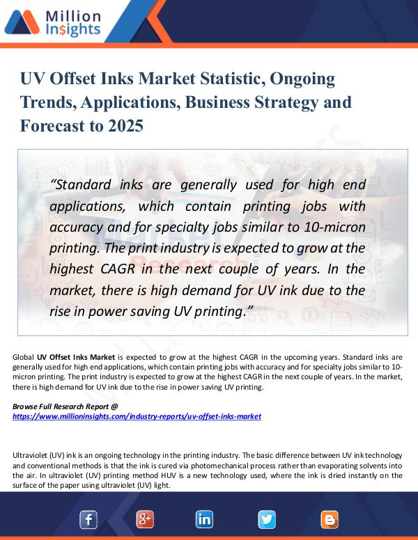 Market Research Analysis UV Offset Inks Market Statistic, Ongoing Trends,