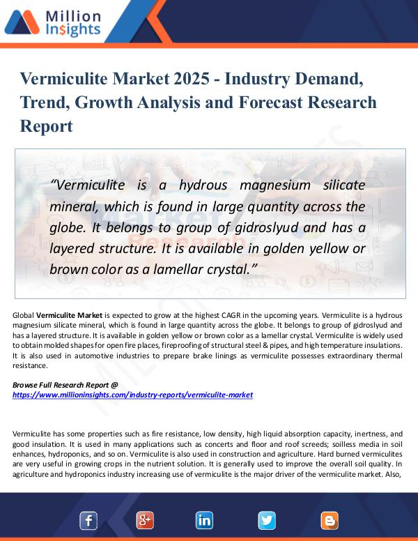 Market Research Analysis Vermiculite Market 2025 - Industry Demand, Trend,