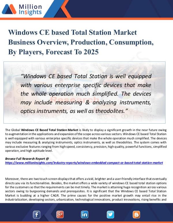 Market Research Analysis Windows CE based Total Station Market Business