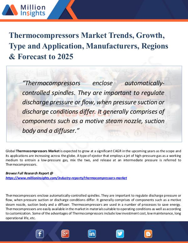 Market Research Analysis Thermocompressors Market Trends, Growth, Type 2025