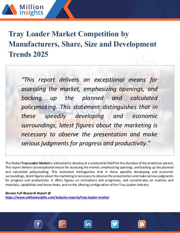 Market Research Analysis Tray Loader Market Competition by Manufacturers