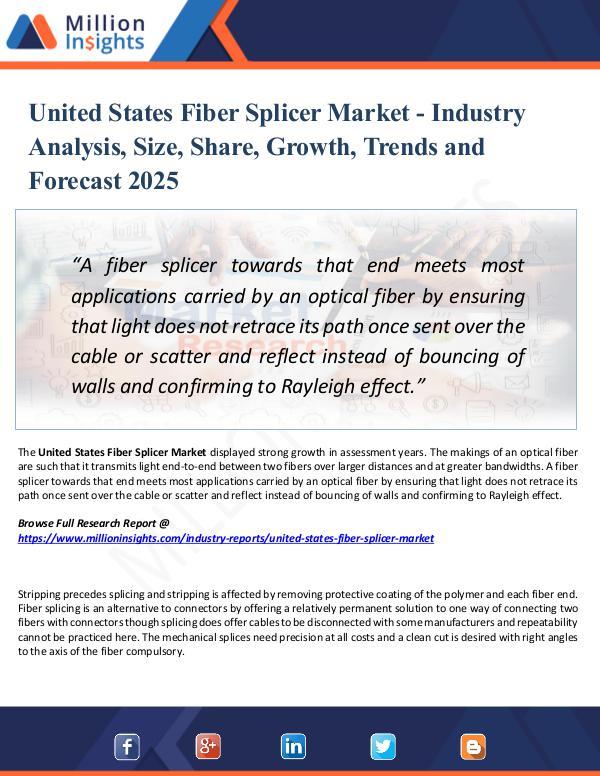 Market Research Analysis United States Fiber Splicer Market Report 2025