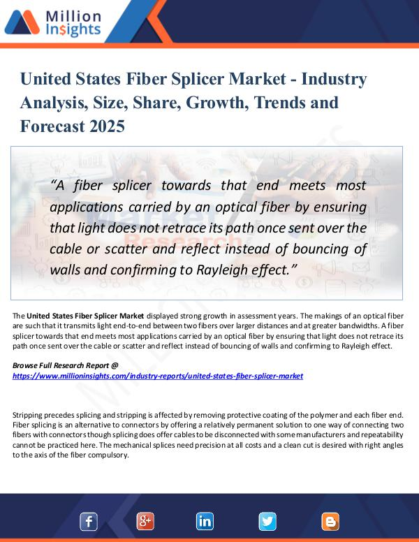 Market Research Analysis United States Fiber Splicer Market Report 2025