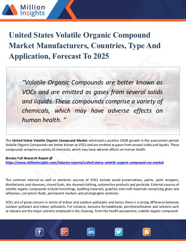 Market Research Analysis United States Volatile Organic Compound Market
