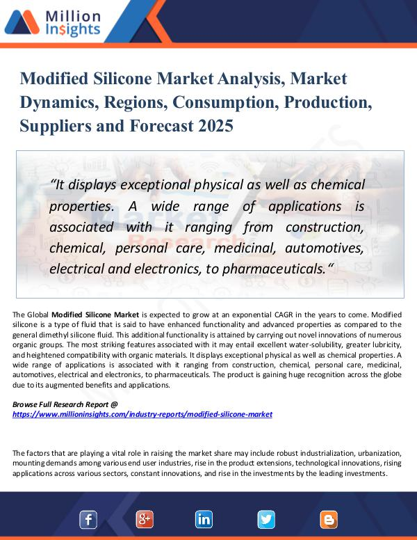 Market Research Analysis Modified Silicone Market Analysis, Market Dynamics