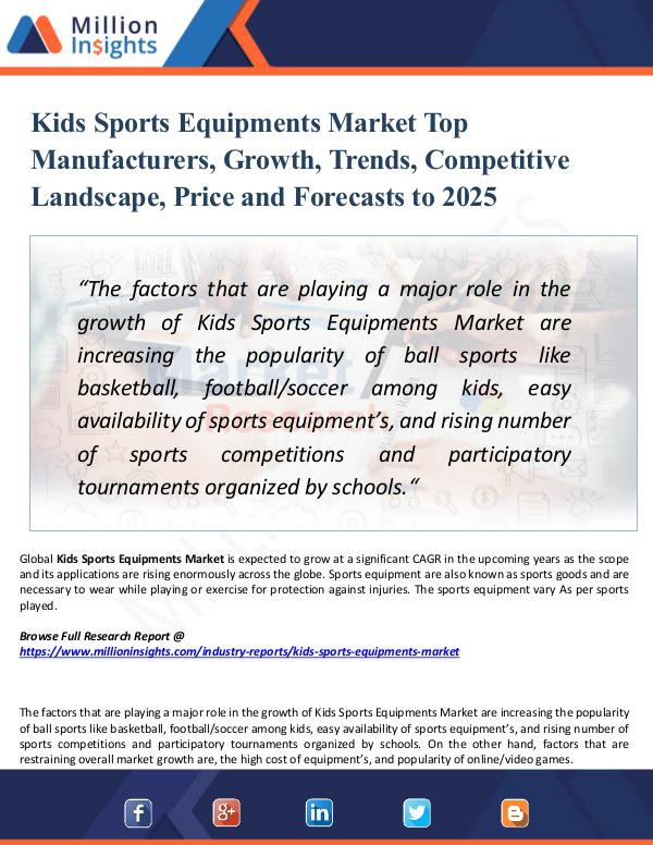 Market Research Analysis Kids Sports Equipments Market Top Manufacturers