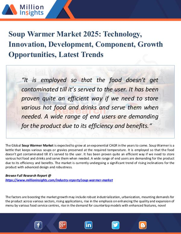 Market Research Analysis Soup Warmer Market 2025- Technology, Innovation