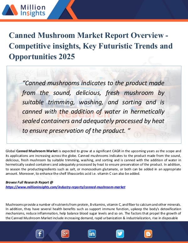Market Research Analysis Canned Mushroom Market Report Overview -2025