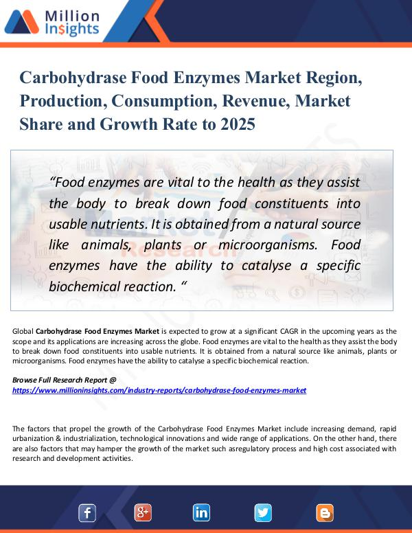 Market Research Analysis Carbohydrase Food Enzymes Market Region, 2025