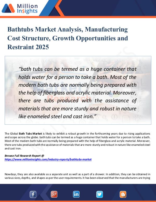 Market Research Analysis Bathtubs Market Analysis, Manufacturing Cost 2025