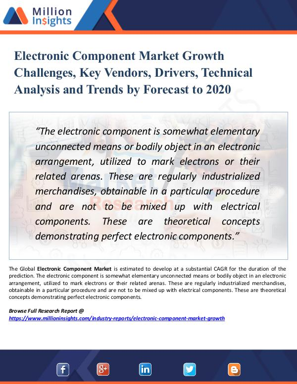 Market Research Analysis Electronic Component Market Growth Challenges, Key