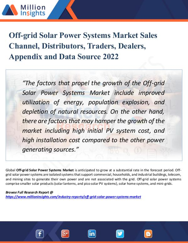 Market Research Analysis Off-grid Solar Power Systems Market Sales Channel