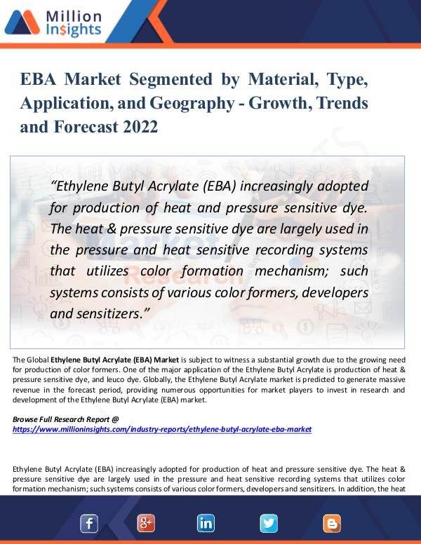 Market Research Analysis EBA Market Segmented by Material, Type,Application