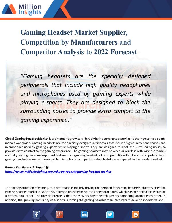 Market Research Analysis Gaming Headset Market Supplier,Competition by 2022