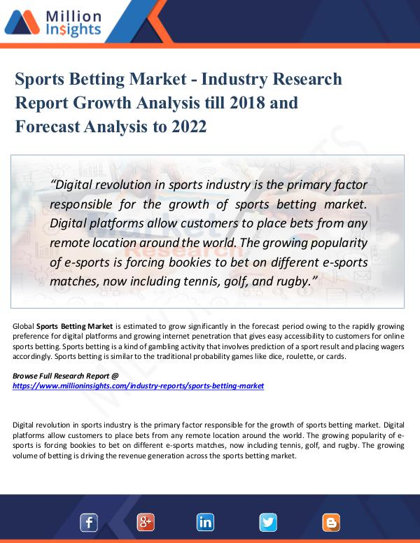 Market Research Analysis Sports Betting Market - Industry Research Report