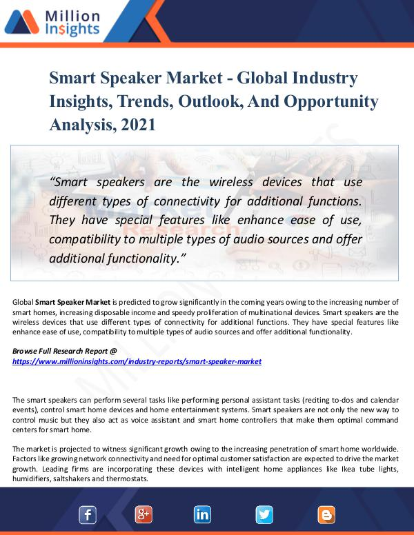 Market Research Analysis Smart Speaker Market - Global Industry Insights