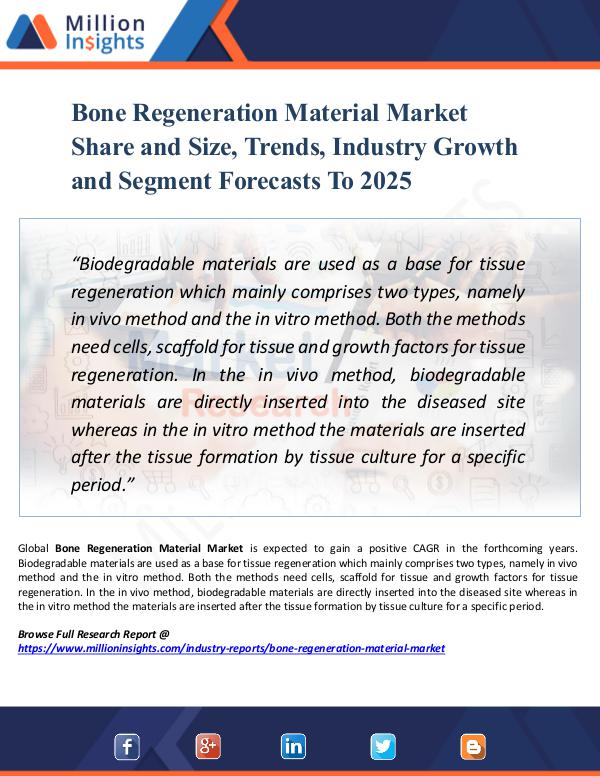 Market Research Analysis Bone Regeneration Material Market Share and Size,