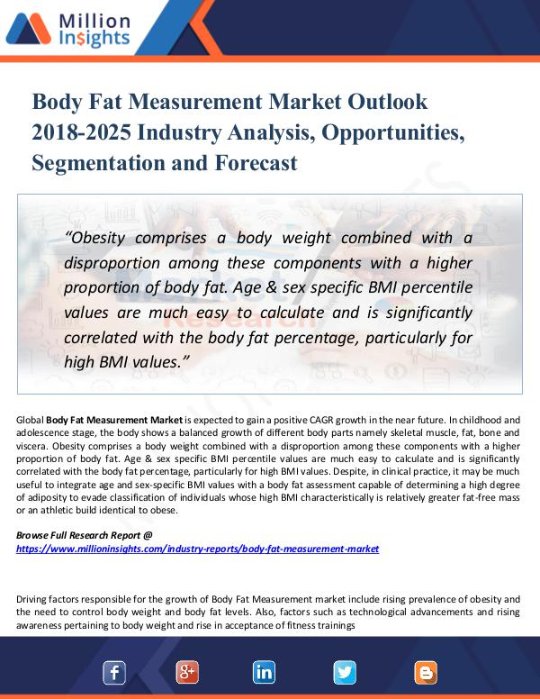 Market Research Analysis Body Fat Measurement Market Outlook 2018-2025