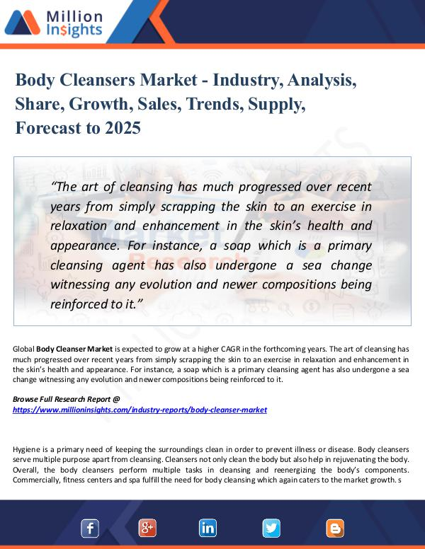 Market Research Analysis Body Cleansers Market - Industry, Analysis, Share,