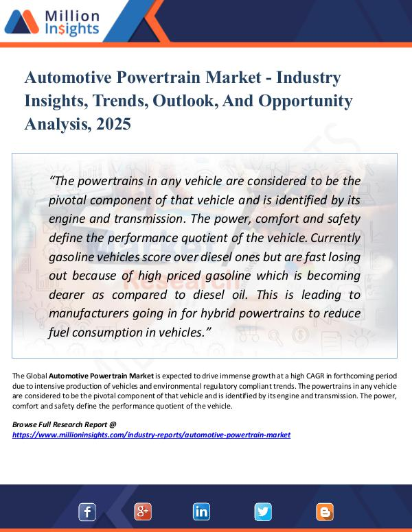 Market Research Analysis Automotive Powertrain Market - Industry Insights