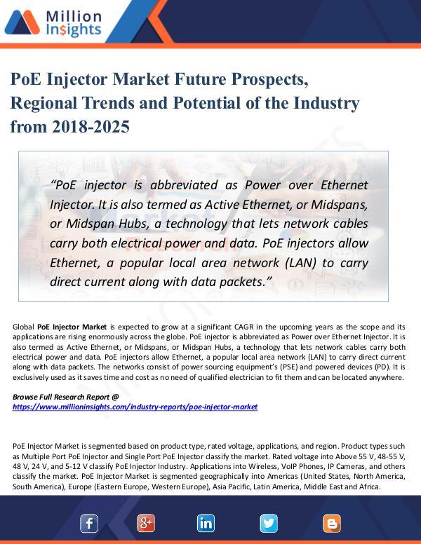 Market Research Analysis PoE Injector Market Future Prospects, Regional
