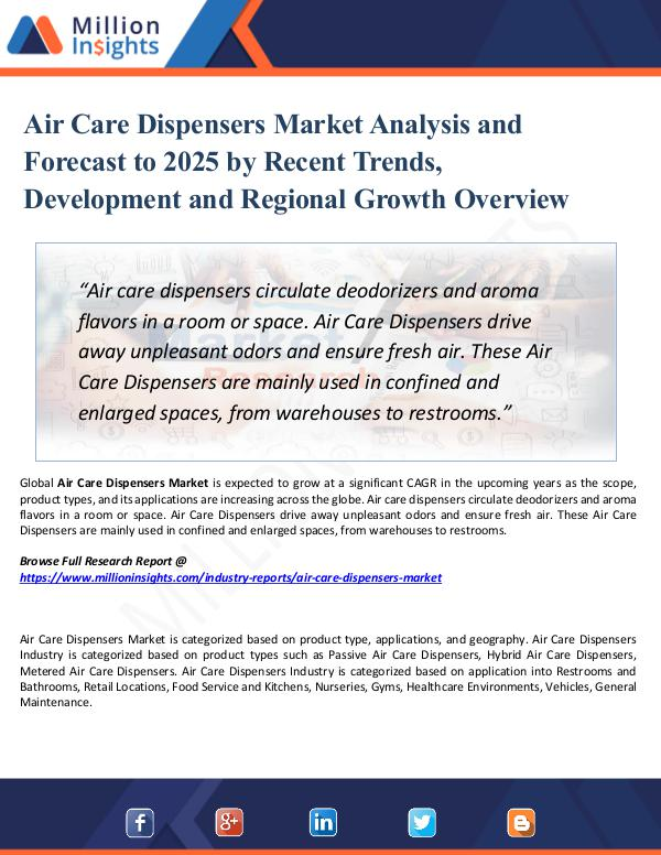 Market Research Analysis Air Care Dispensers Market Analysis and Forecast