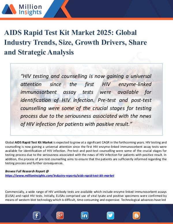 Market Research Analysis AIDS Rapid Test Kit Market 2025 - Industry Growth