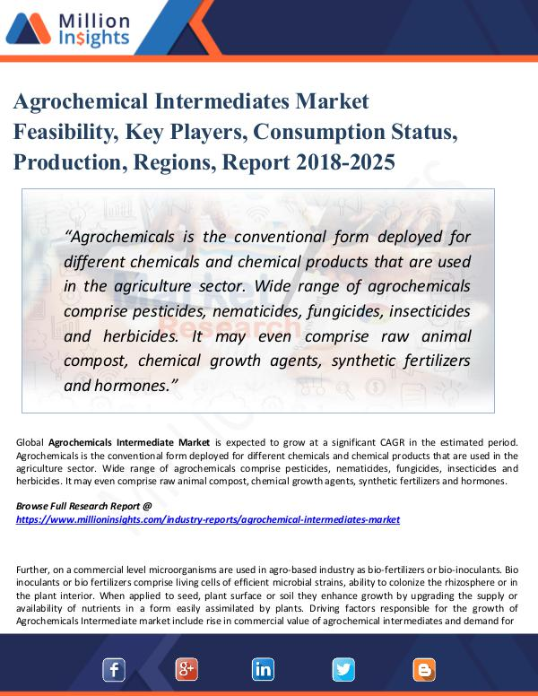Market Research Analysis Agrochemical Intermediates Market Feasibility,