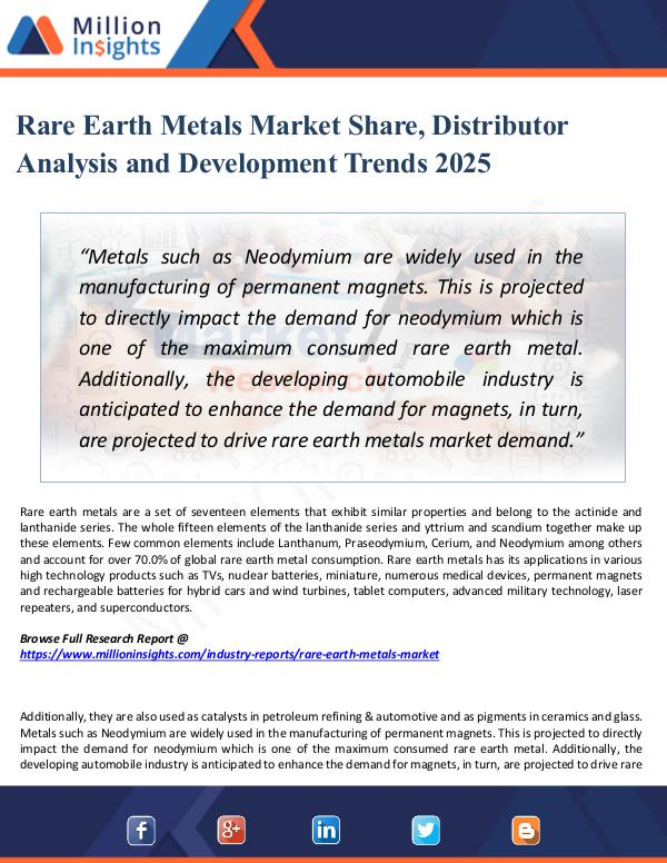 Market Research Analysis Rare Earth Metals Market Share, Distributor 2025