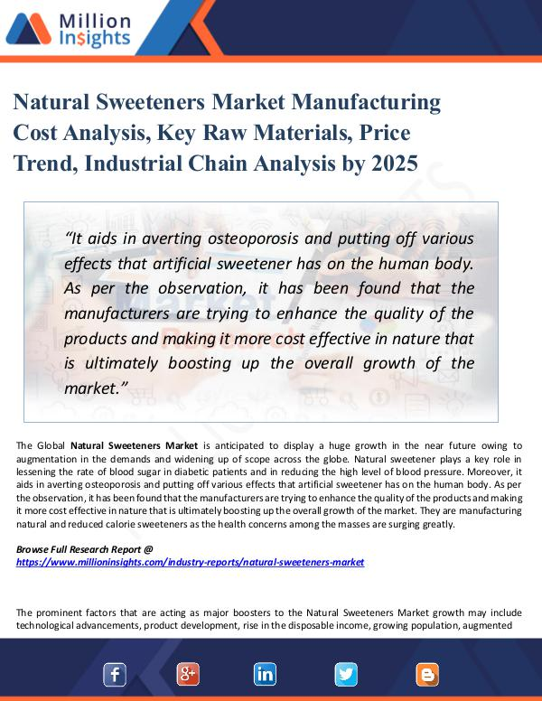 Market Research Analysis Natural Sweeteners Market Manufacturing Cost