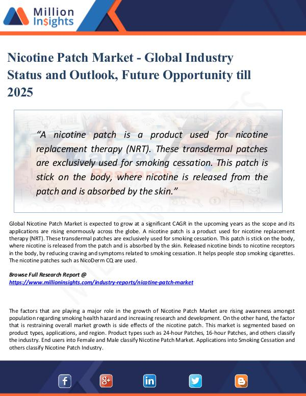 Market Research Analysis Nicotine Patch Market - Global Industry Status