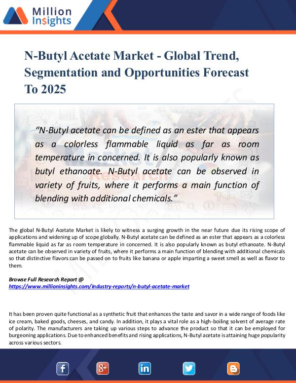 Market Research Analysis N-Butyl Acetate Market - Global Trend, Share