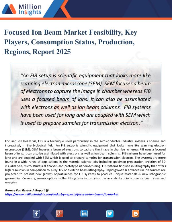 Market Research Analysis Focused Ion Beam Market Feasibility, Key Players,