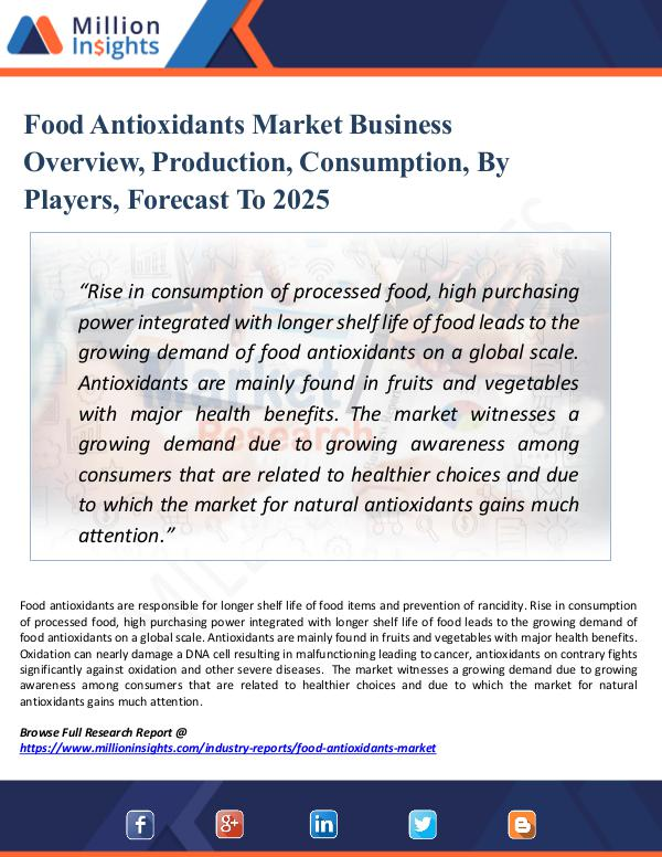 Market Research Analysis Food Antioxidants Market Business Overview, 2025