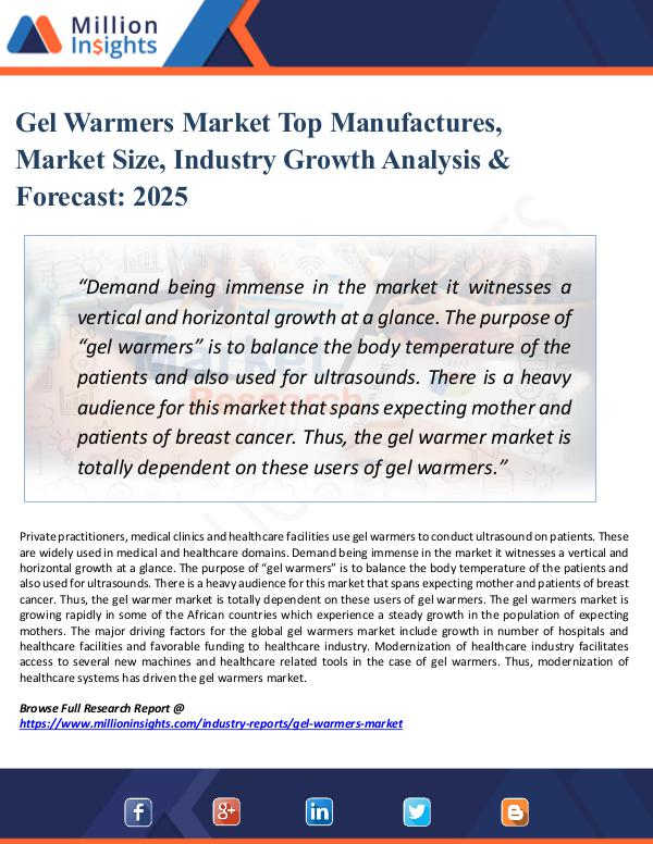 Market Research Analysis Gel Warmers Market Top Manufactures, Market Size,