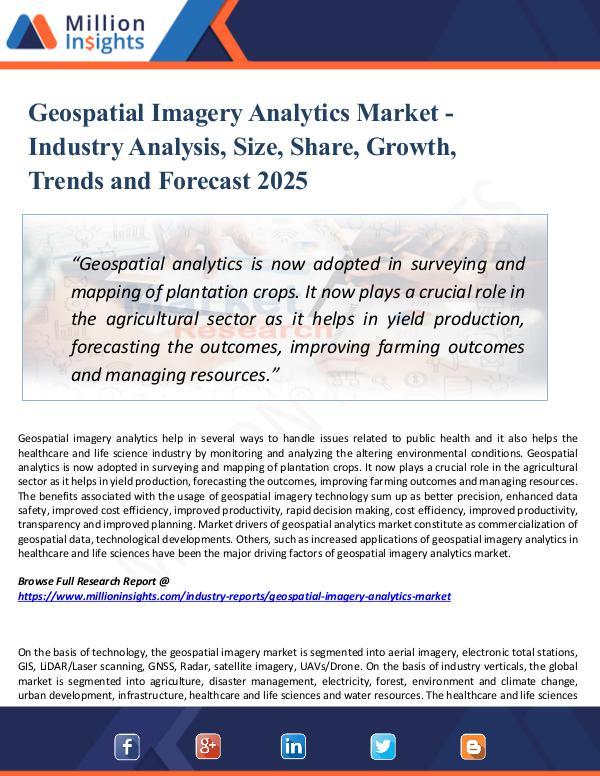 Market Research Analysis Geospatial Imagery Analytics Market - 2025