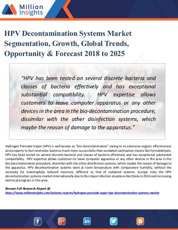 Market Research Analysis HPV Decontamination Systems Market Segmentation