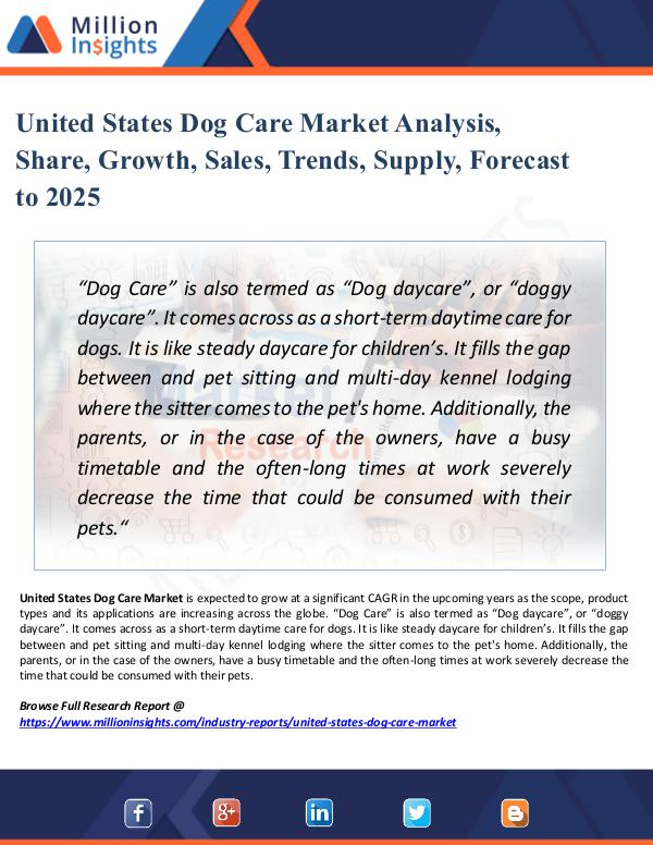 Market New Research United States Dog Care Market Analysis, Share 2025