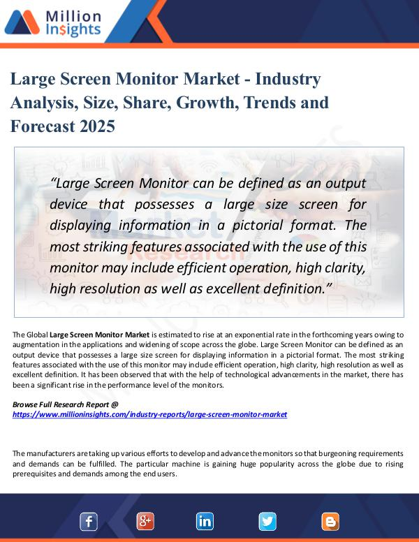 Market New Research Large Screen Monitor Market - Industry Analysis