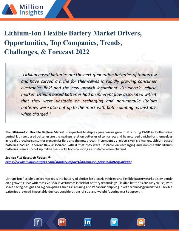 Lithium-Ion Flexible Battery Market Drivers, 2022