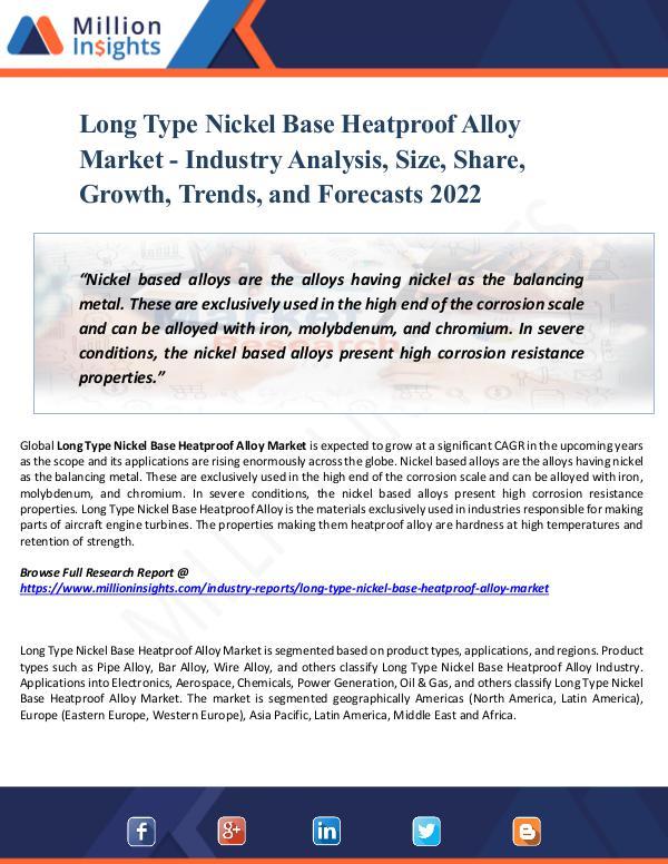 Long Type Nickel Base Heatproof Alloy Market 2022