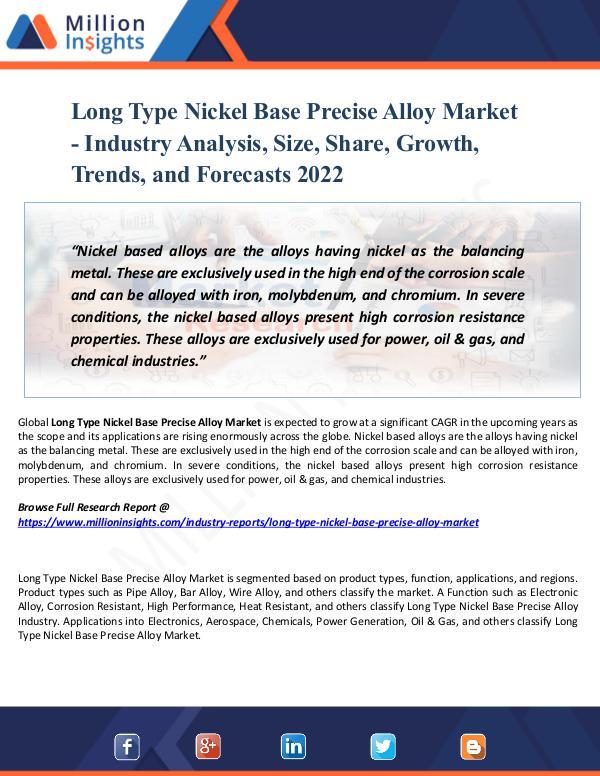 Long Type Nickel Base Precise Alloy Market - 2022