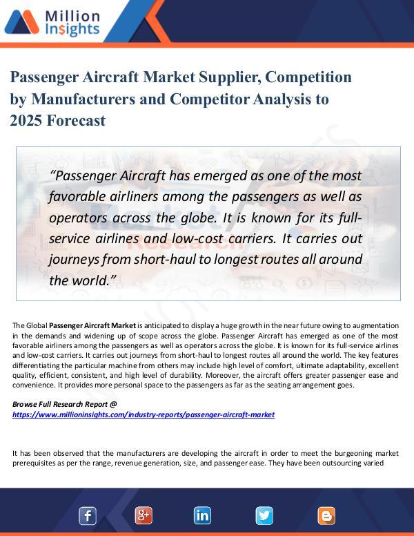 Market Share's Passenger Aircraft Market Supplier, Competition